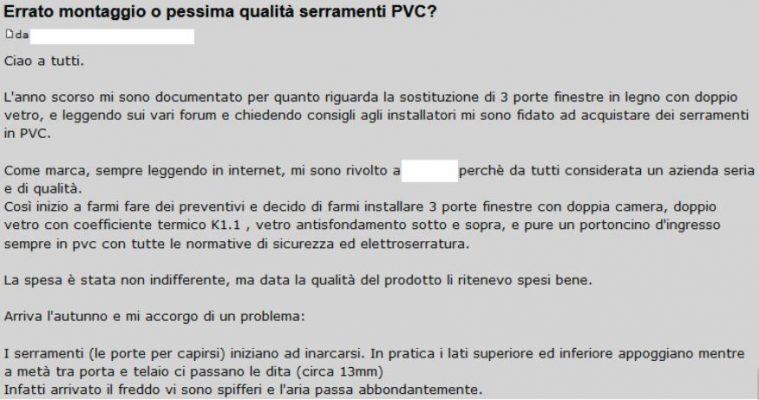 forum problemi infissi